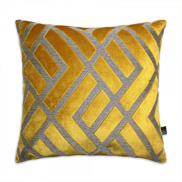 0002 Ochre Geometric pattern cushion