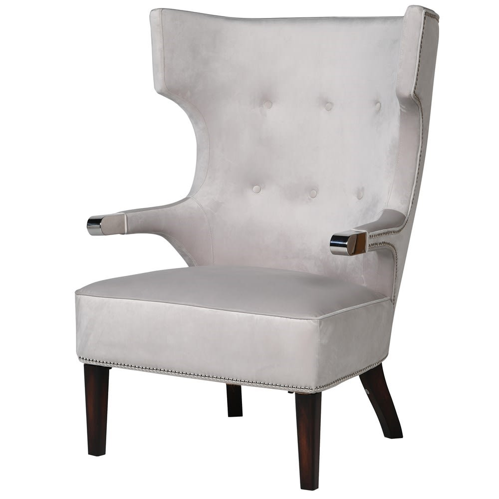 1414 Light grey velvet armchair