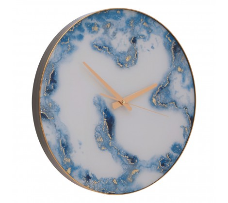 1447 Blue & Gold marble effect wall clock
