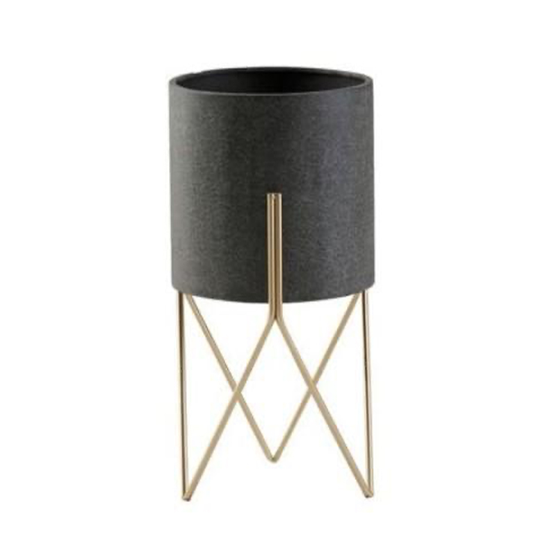 1321 metal planter on stand DK grey/brass