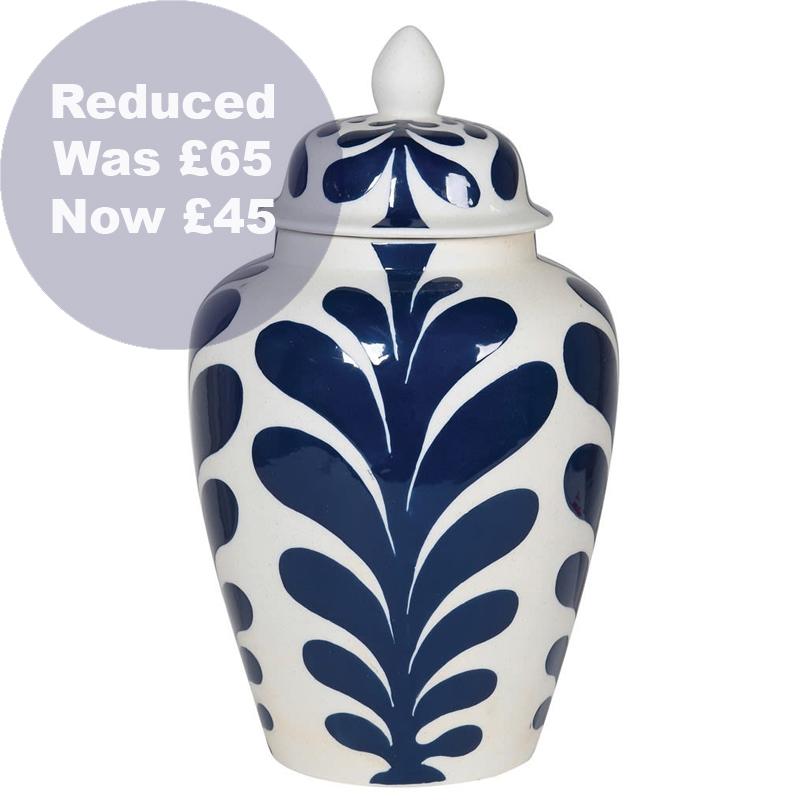1737 Blue leaf print ginger jar