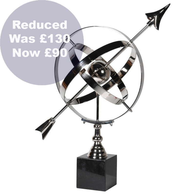 1416 Silver armillary on granite stand