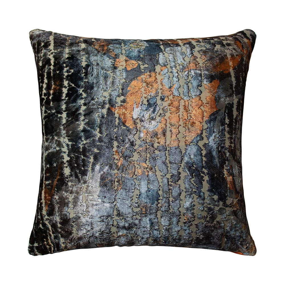 0008 Textured velvet navy/rust cushion
