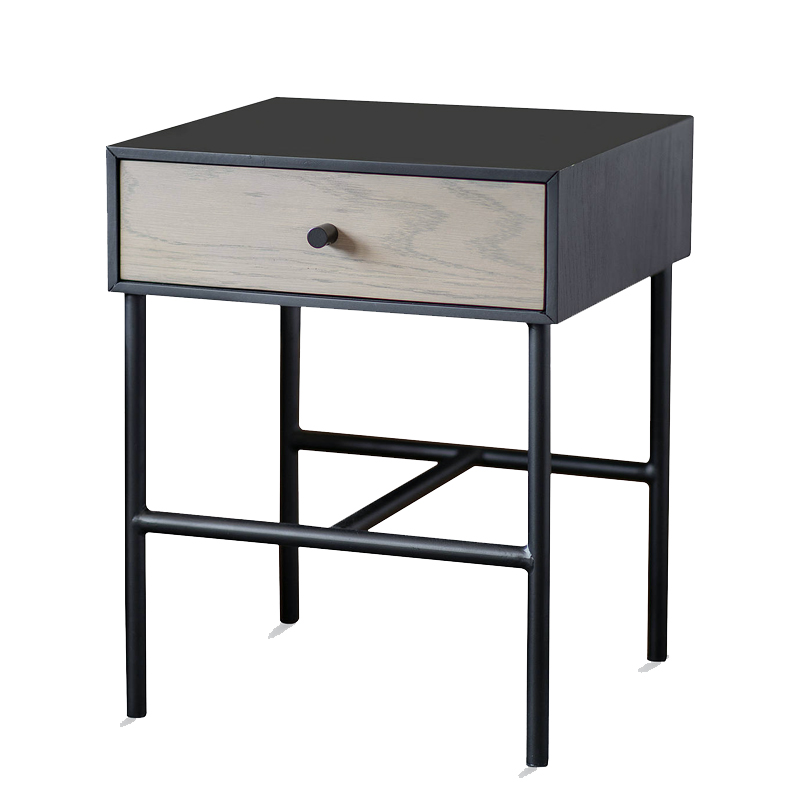1741 Small black/ oak one drawer side table