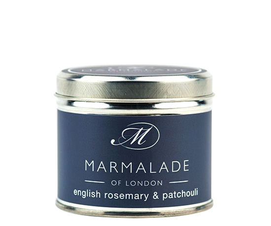 00173 English Rosemary & Patchouli tin candle