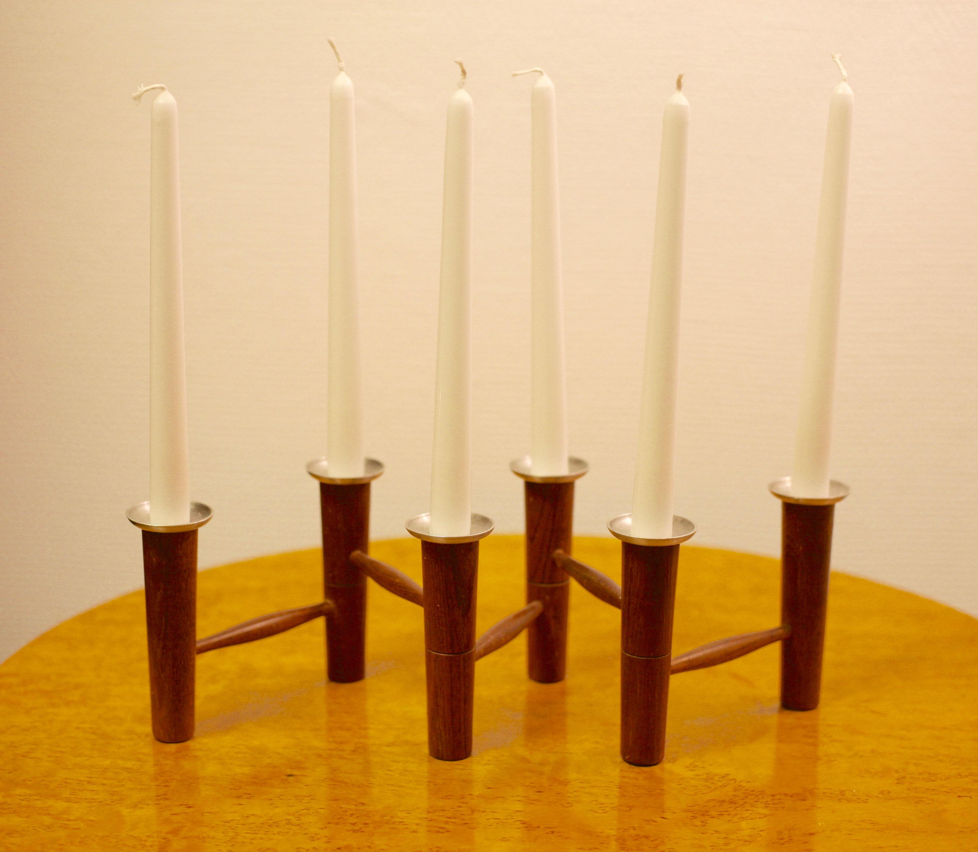 Folding teak candelabra by Lauritz Jensen, Denmark