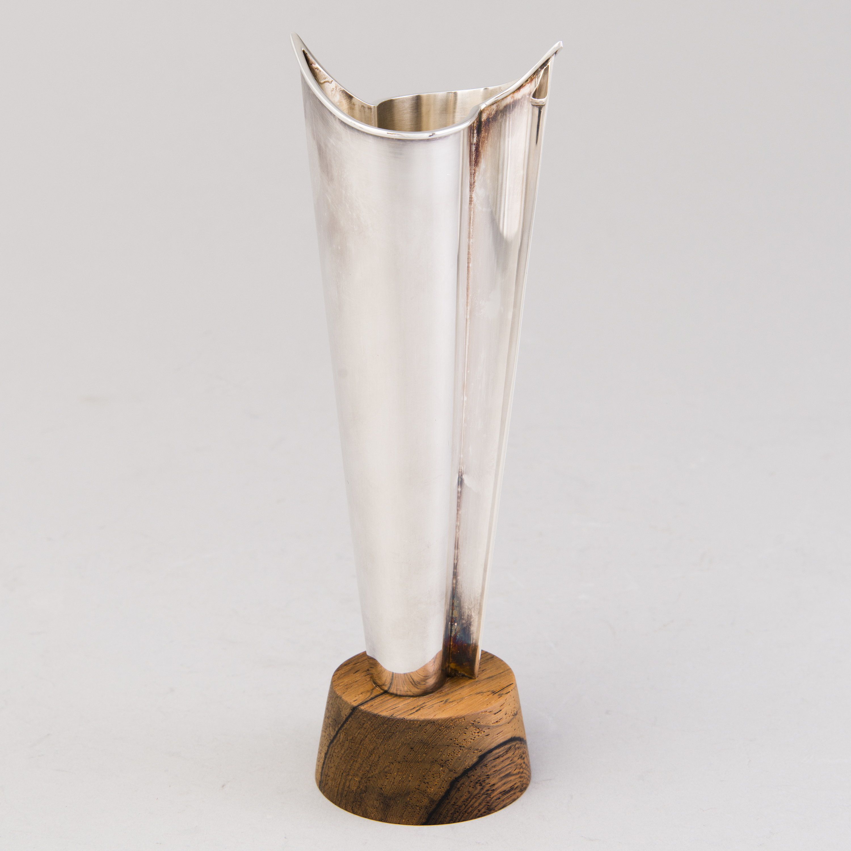 Silver vase, Liekki (Flame), by Tapio Wirkkala for Kultakeskus Oy, Finland