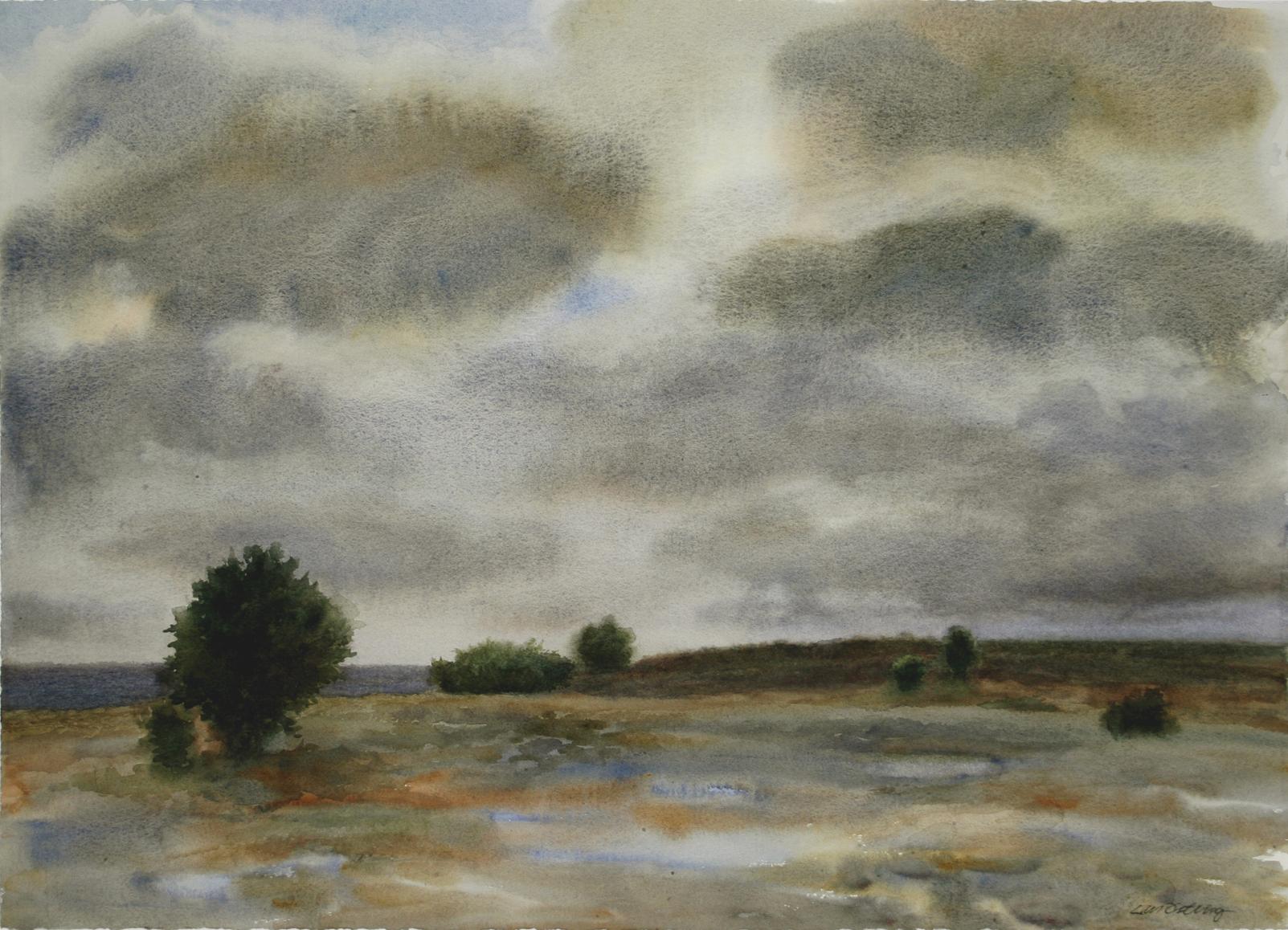 Lars Östling - Efter regnet, akvarell