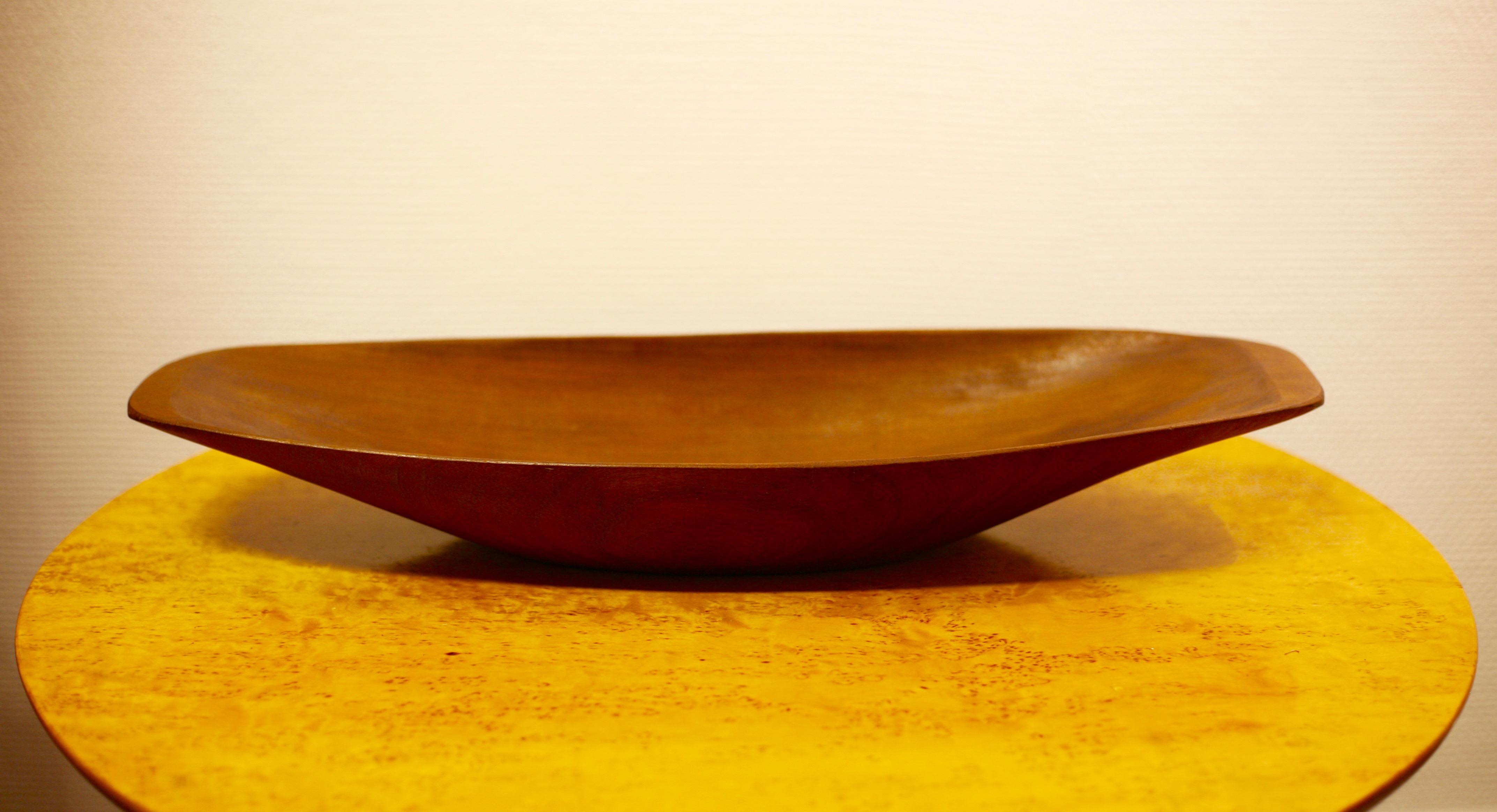 Carved teak bowl by Stig Sandqvist, Sweden