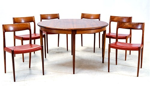 Dining set, rosewood, by Niels O Möller