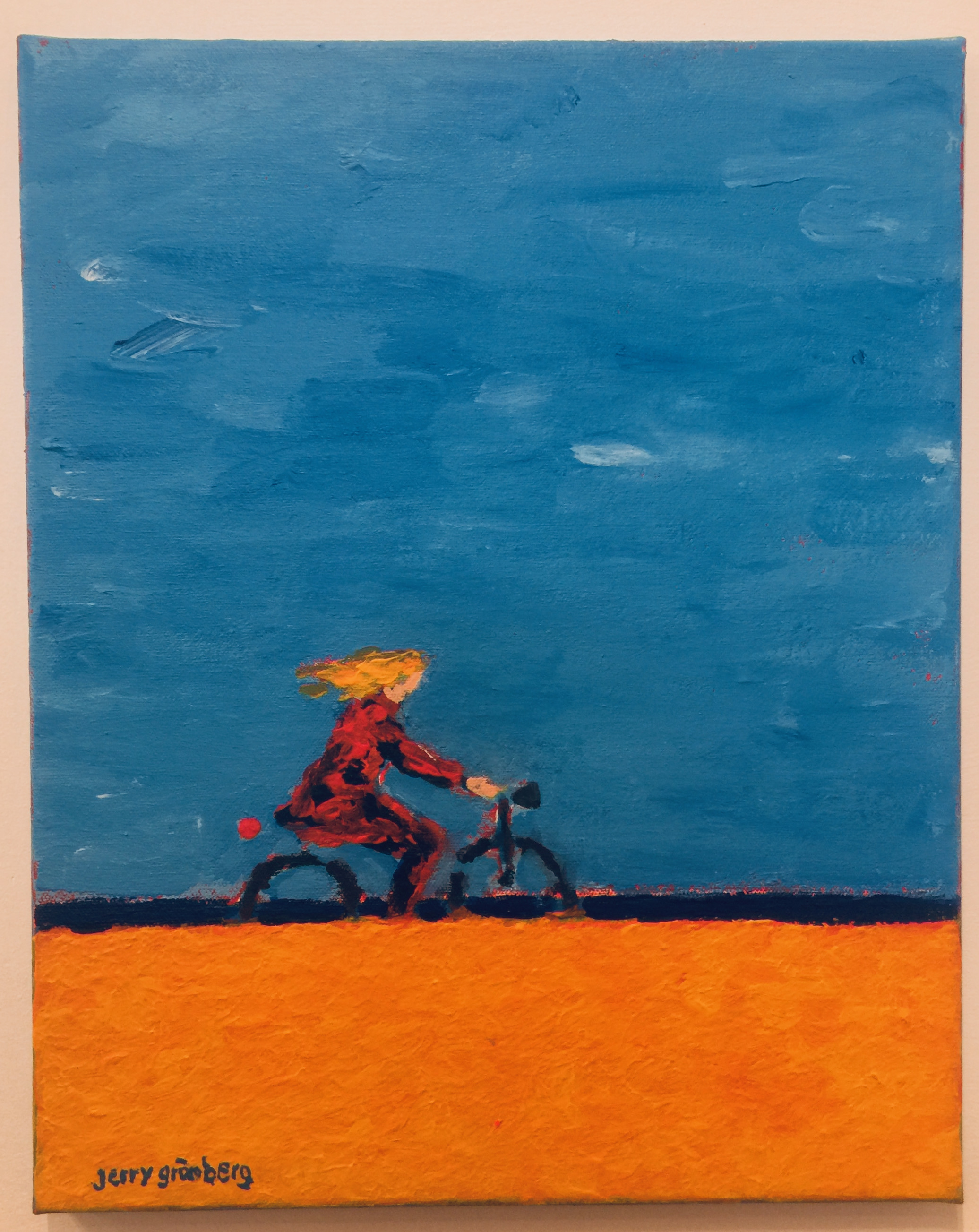 Jerry Grönberg - 'Med vinden i sitt hår', akryl på duk.