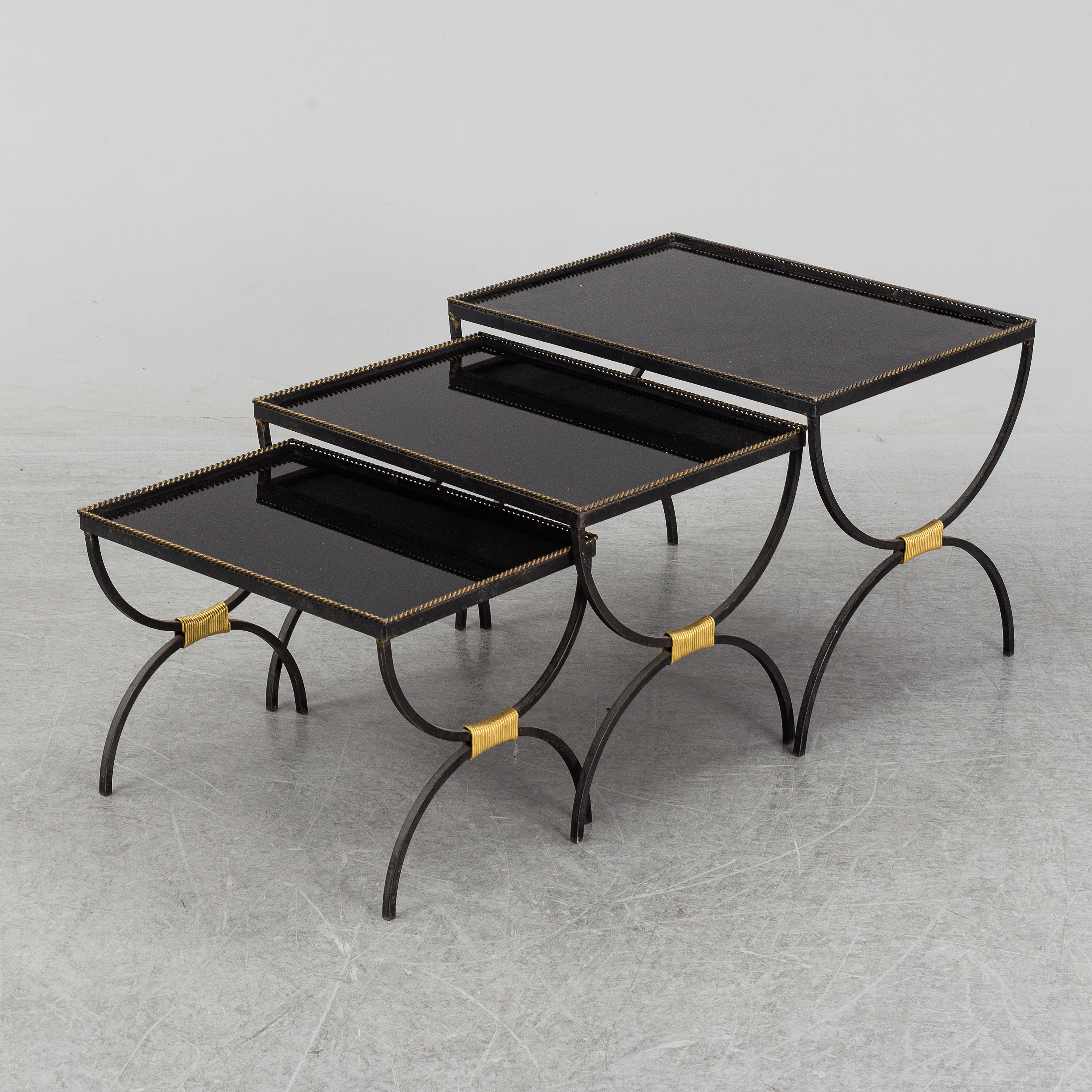 French iron nesting tables with glass shelves, 1940´s