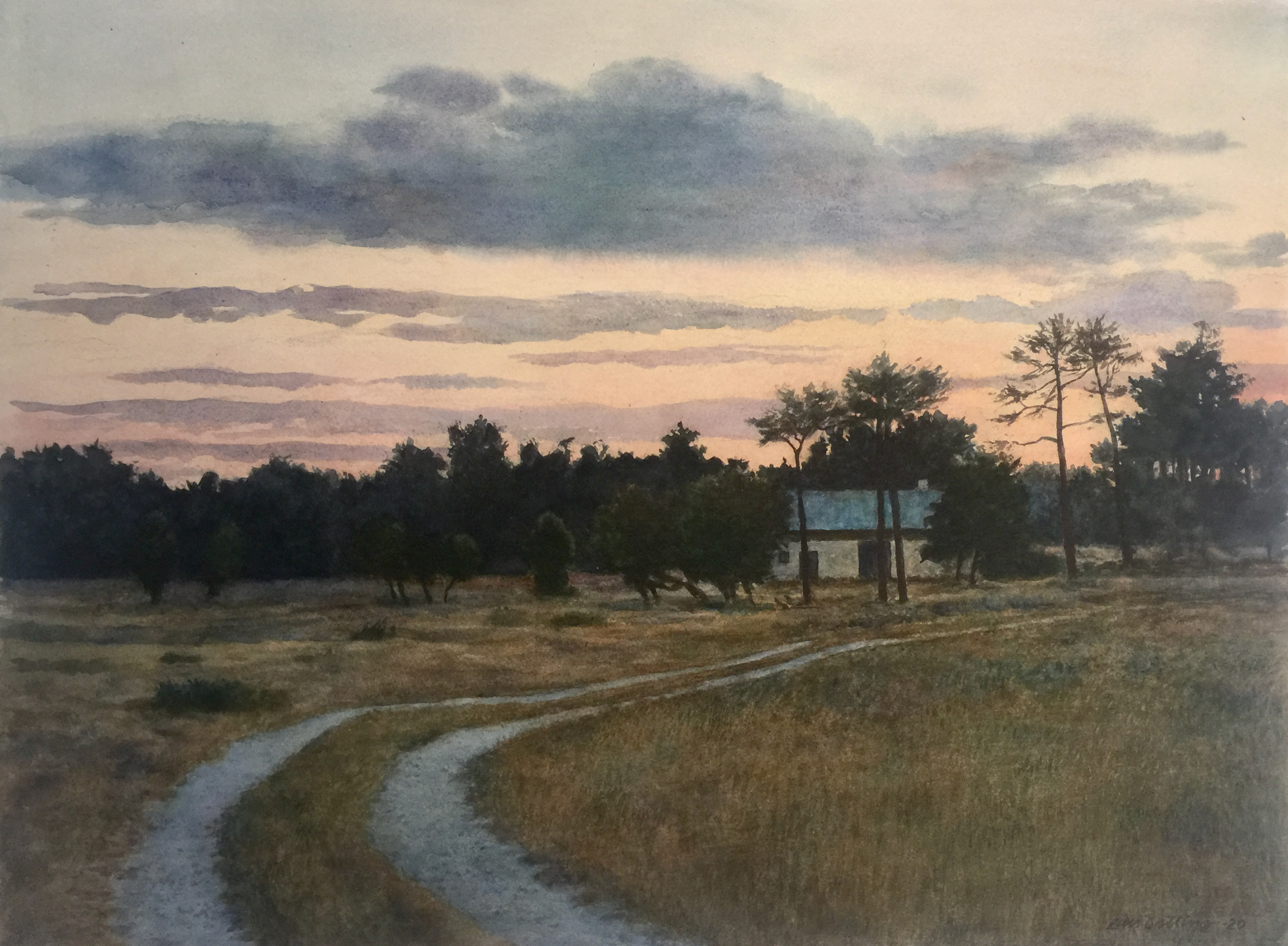Lars Östling - Moln över Kalbjerga, akvarell