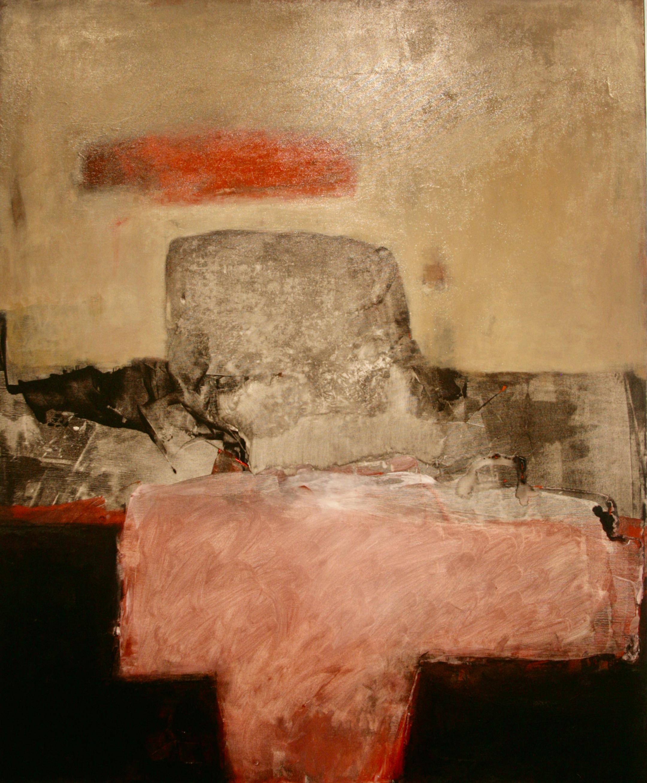 Oleg Bondarenk - Winter mountain and red cloud, oil painting