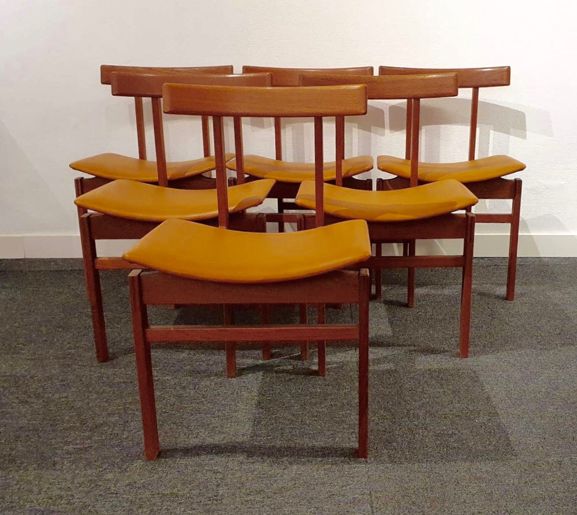 Set of 6 teak dining chairs, Inger Klingenberg, model 193 for France & Daverkosen 1960