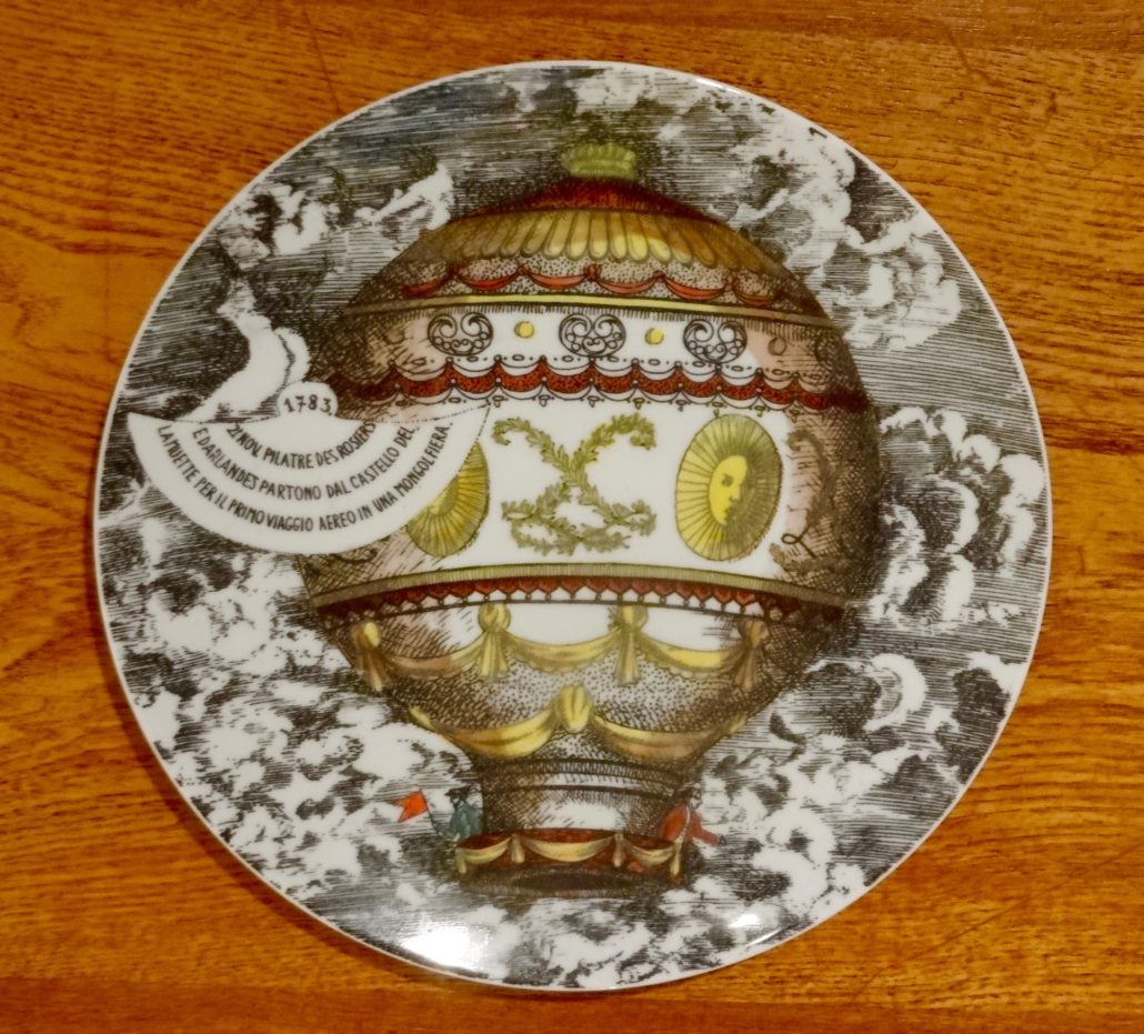 Piero Fornasetti 'Mongolfiere' porcelain plate