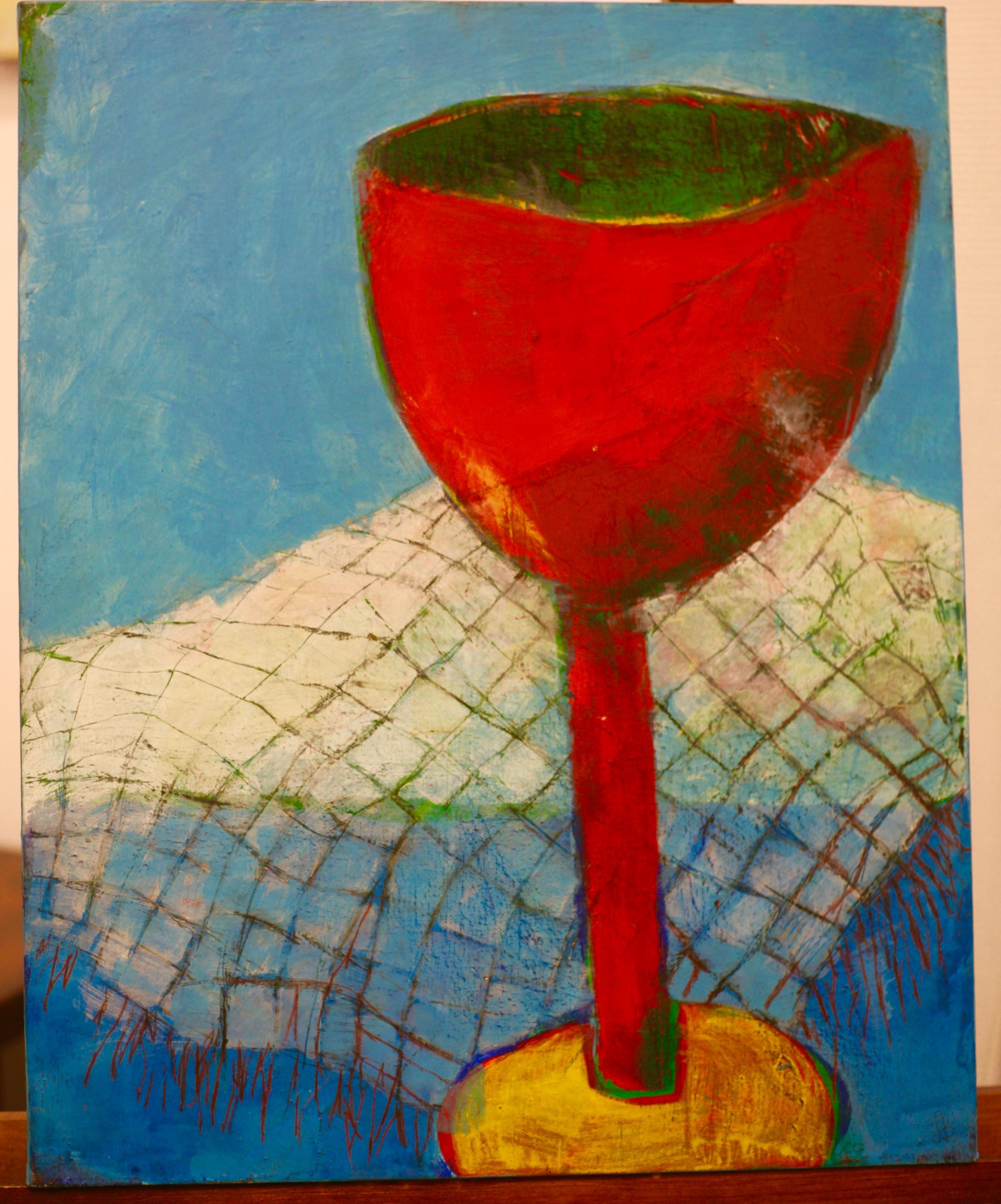 Inga Björstedt - Red glass (Rött glas), oil tempera painting