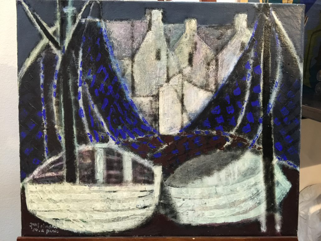 Les Barques, oil painting by Jun Dobashi 1954