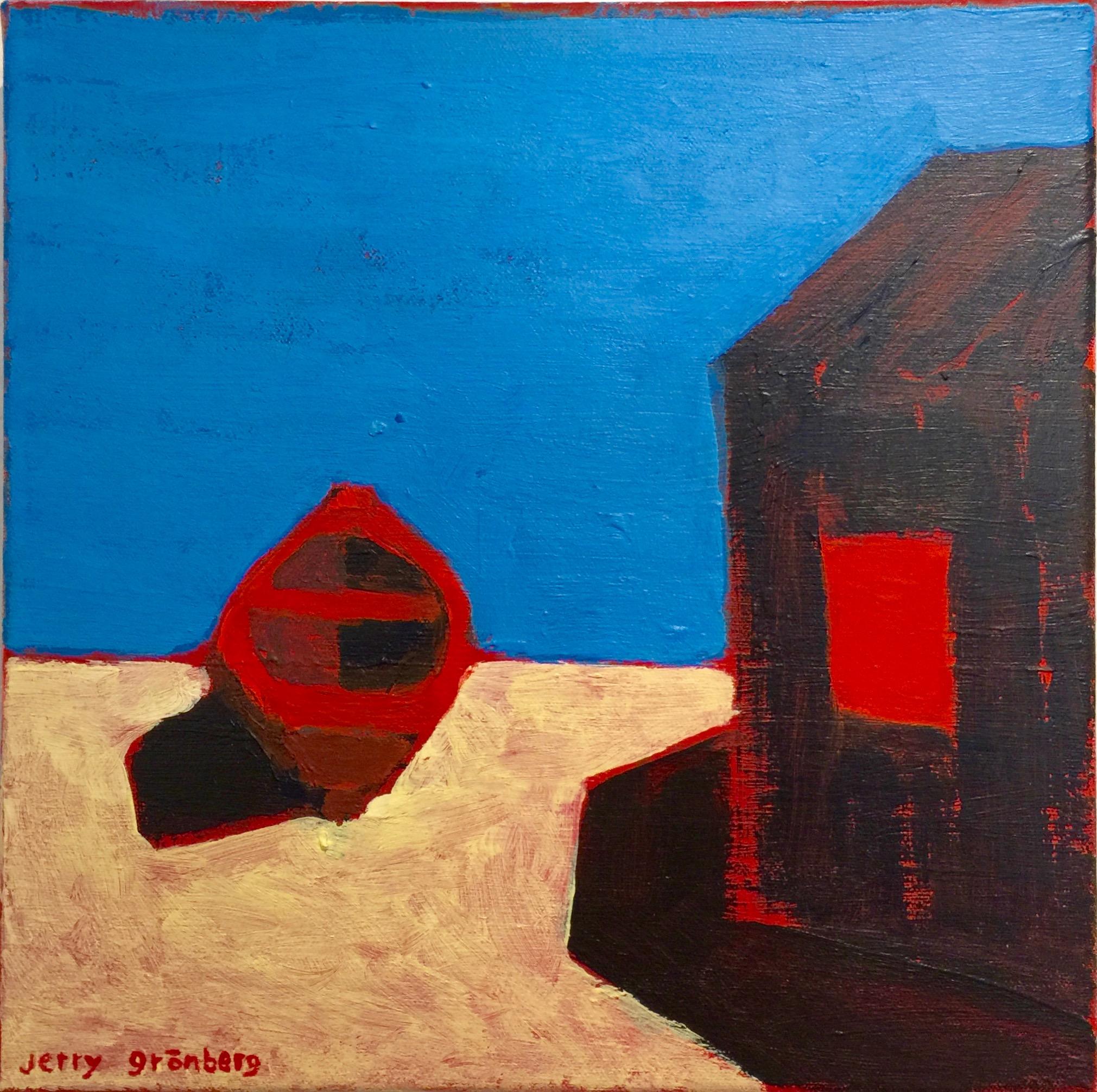 Jerry Grönberg - 'Ruta röd VI', akryl på duk