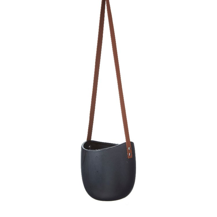 Hängampel med Läder svart matt 14,5x18