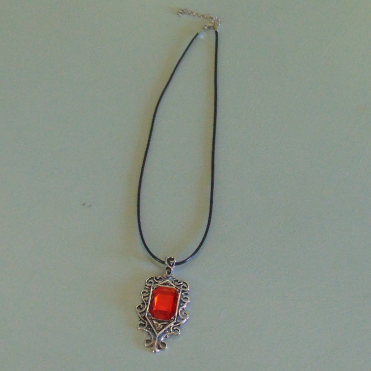 Necklace - Red Gem Stone Cabochon