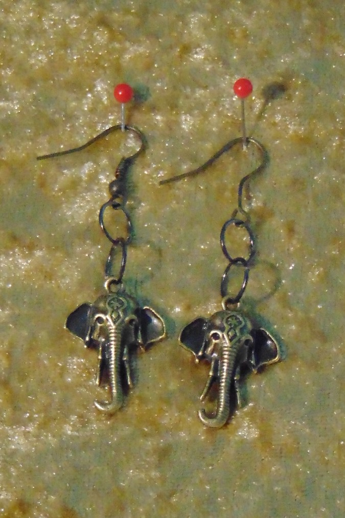 Earrings, Brass Elephants