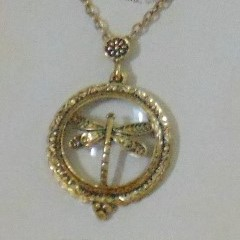 Magnifier With Cover, 4 Designs,  in Gold Tone Metal on Chain.