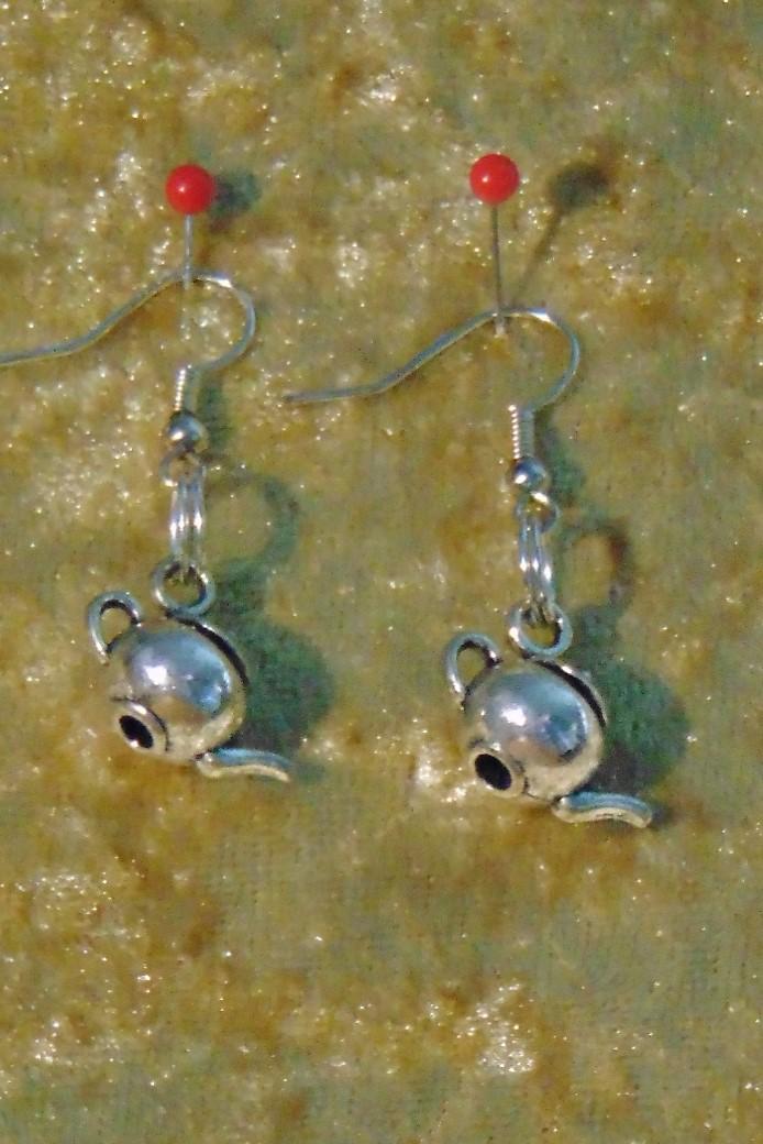Earrings, Silver Metal Teapot Design