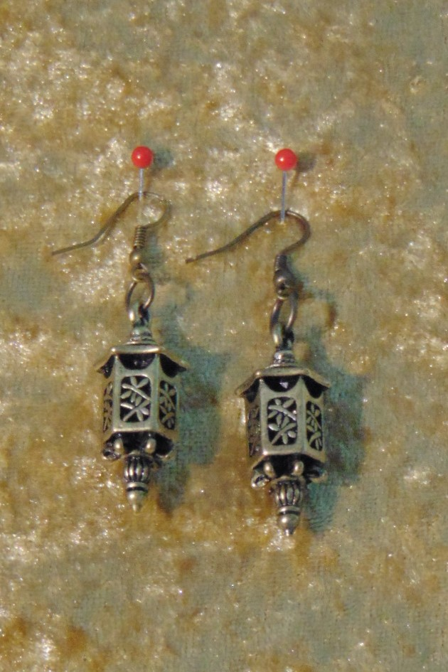 Earrings, Brass Chinese Lanterns