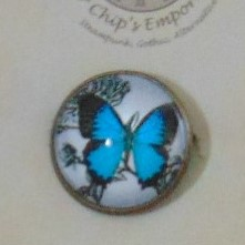 Brooch Badge - Blue Butterfly