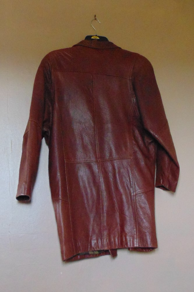 Ladies Brown Leather Waist Length Coat - size S/M