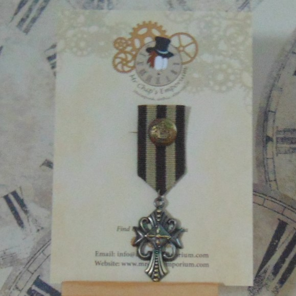 Medal #1 - Gothic Cross on brown/beige ribbon