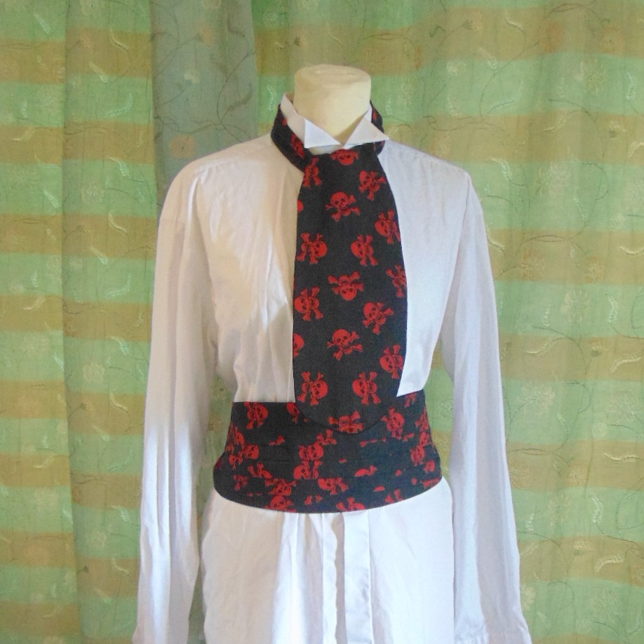 Cravat & Cummerbund Set - Black and Red Skull & Crossed Bones Design
