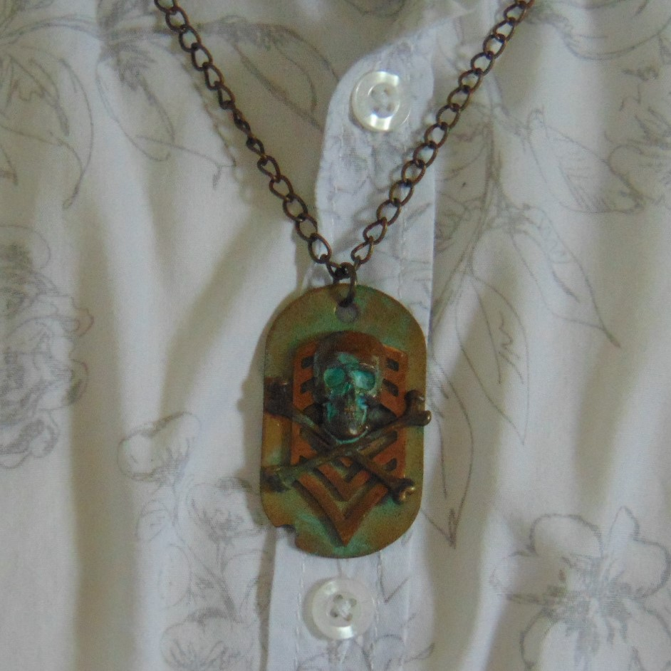Necklace - Dogtag Style Pendant with Skull & Crossed Bones Design