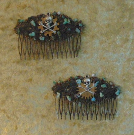 Haircombs - Pirate Design with Jade Coloured Stones