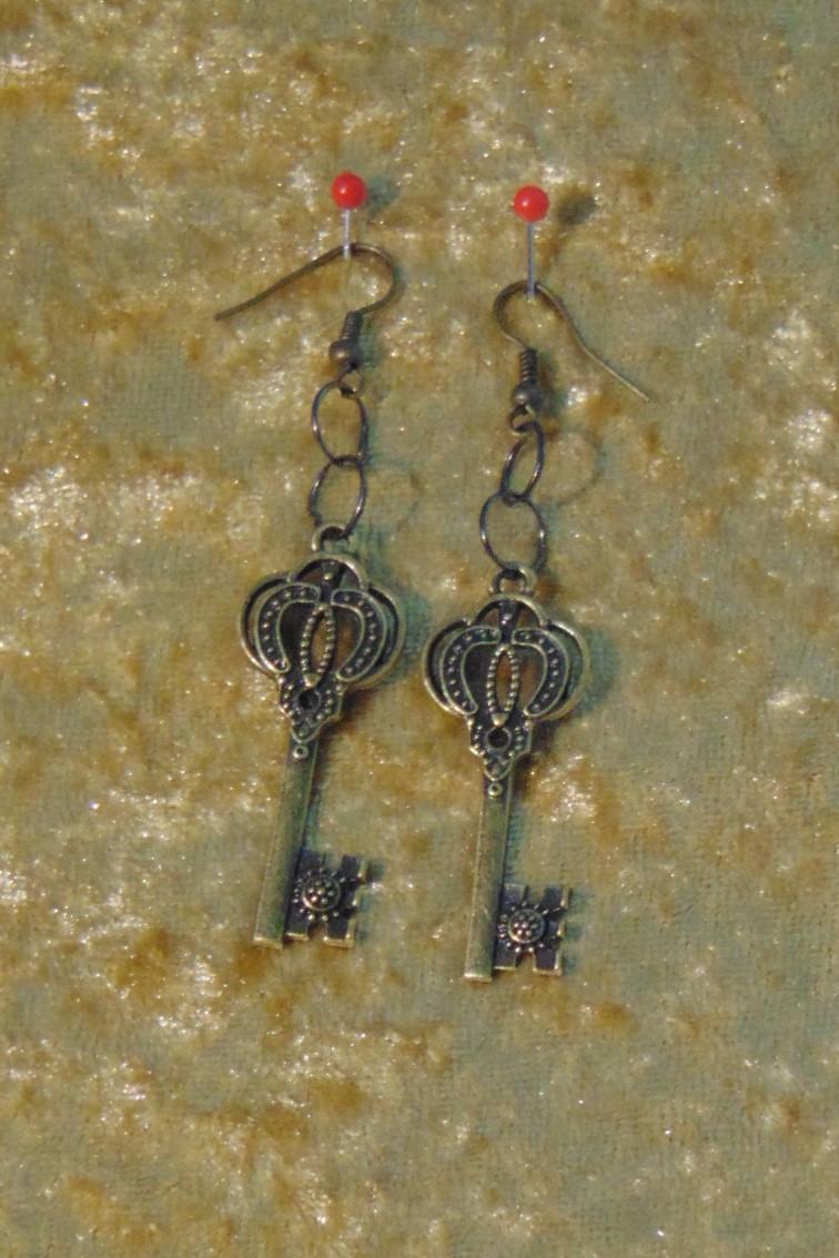 Earrings, Brass ornate Keys