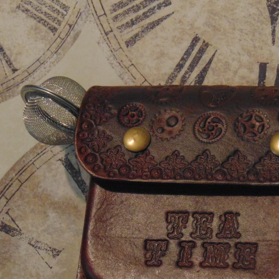 Tea Making Set in Handmade Leather Case.