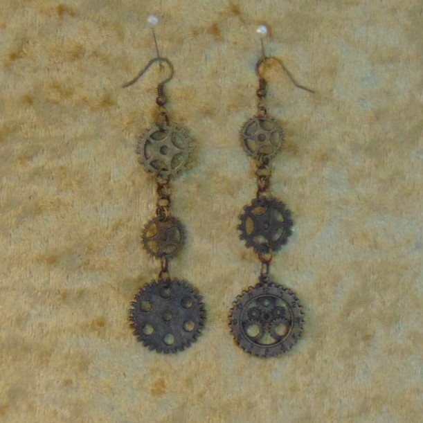 Earrings - Long Drop with Cog Charms