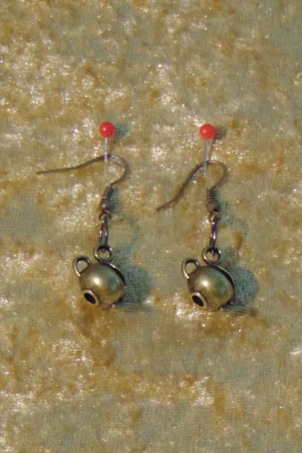 Earrings, Brass Teapot Design