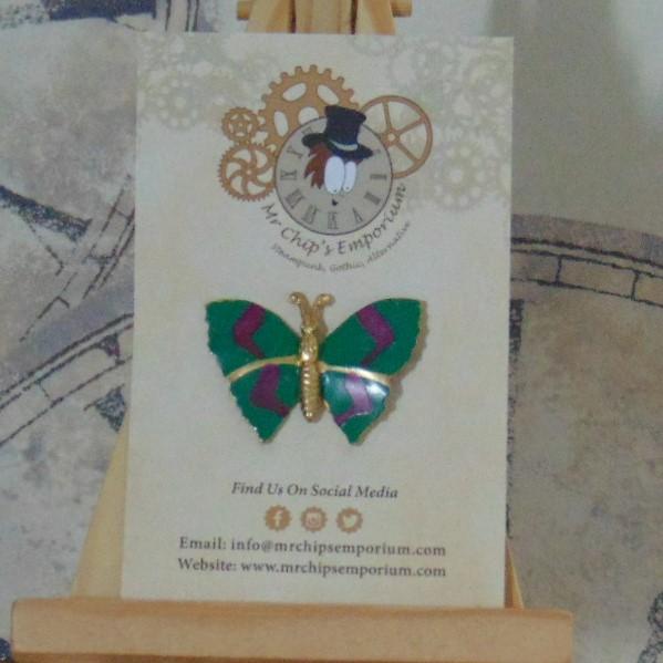 Brooch Badge - Green Butterfly