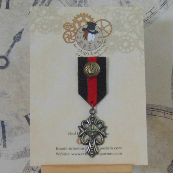 Medal #8 - Gothic cross, black/red ribbon