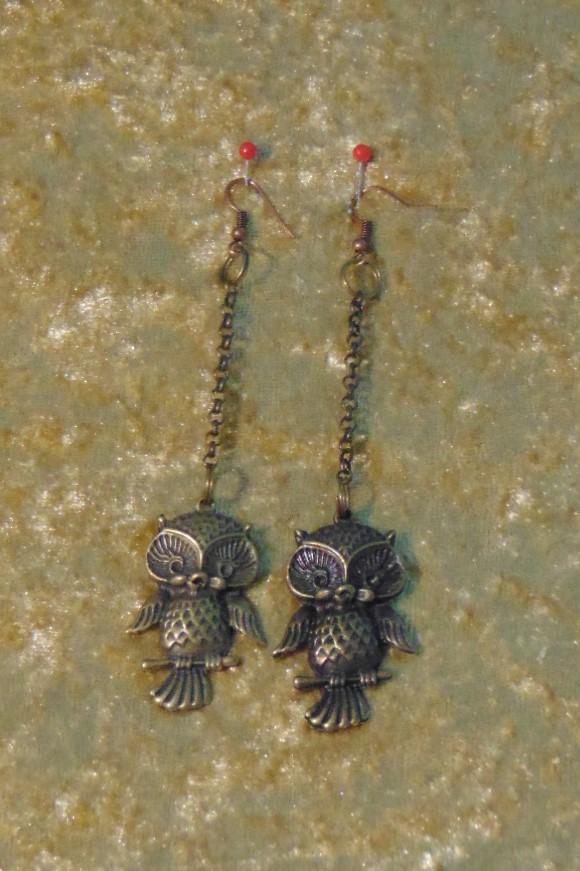 Earrings, Large Brass Owls