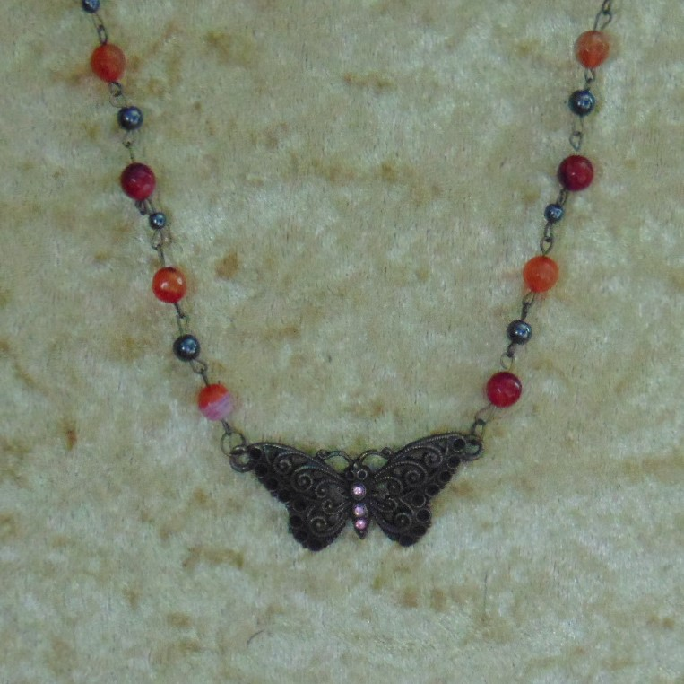 Necklace - Butterfly on Beaded Chain