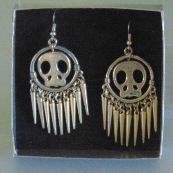 Earrings - Silver Metal Skulls & Points