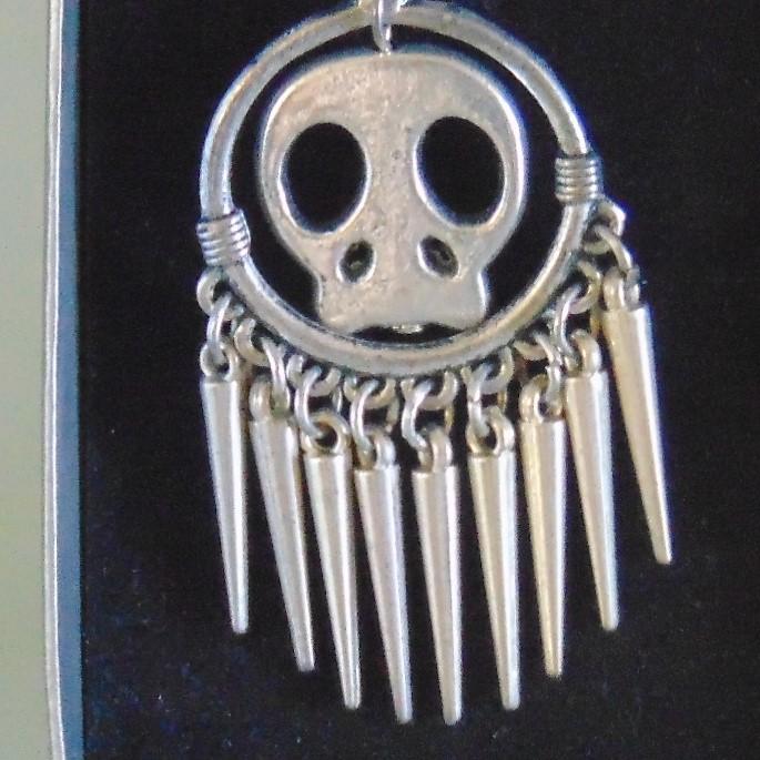 Earrings - Silver Metal Skulls & Points