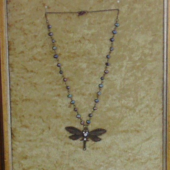 Necklace - Dragonfly Pendant on Black Water Pearl Chain
