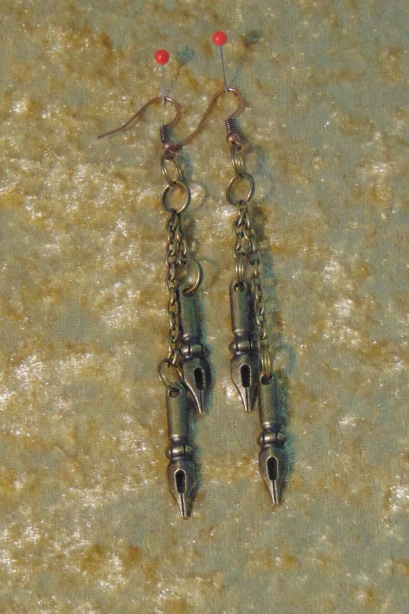 Earrings, Brass Pen Nibs on Long Chain