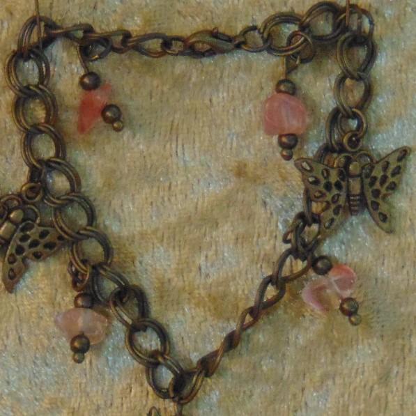 Bracelet - Butterfly Charms & Cherry Quartz