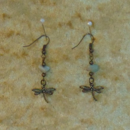 Earrings - Small Dragonfly Charms with Aventurine