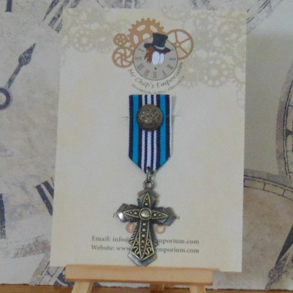 Medal #6 - Gothic cross with blue & white ribbon